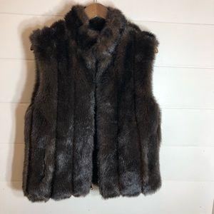 Giaca Faux Brown Mink Reversible Vest
